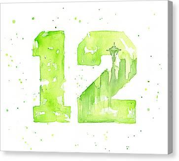 12th Man Seahawks Art Go Hawks Canvas Print by Olga Shvartsur