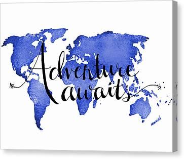12x16 Adventure Awaits Blue Map Art Canvas Print by Michelle Eshleman