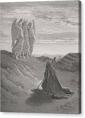 Engraving From The Dore Bible Canvas Print by Vintage Design Pics