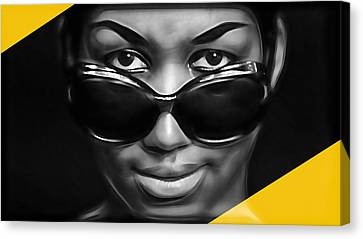 Aretha Franklin Collection Canvas Print by Marvin Blaine