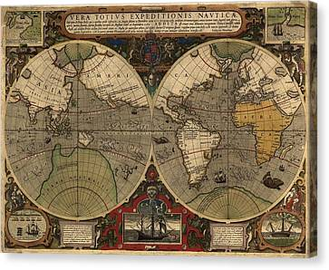 1595 World Map Shows Routes Canvas Print by Everett