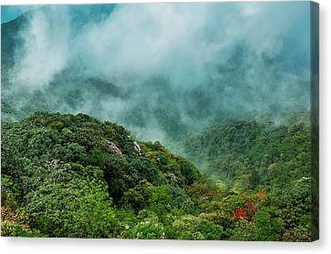 Mountain Scenery In The Mist Canvas Print by Carl Ning