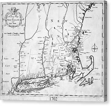 1702 Map Of New England And New York Canvas Print by Toby McGuire