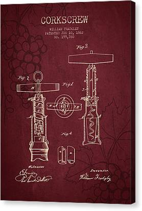 1862 Corkscrew Patent - Red Wine Canvas Print by Aged Pixel