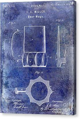 1873 Beer Mug Patent Blue Canvas Print by Jon Neidert