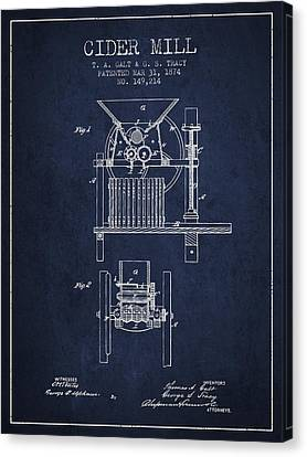 1874 Cider Mill Patent - Navy Blue Canvas Print by Aged Pixel