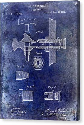 1876 Beer Faucet Patent Blue Canvas Print by Jon Neidert