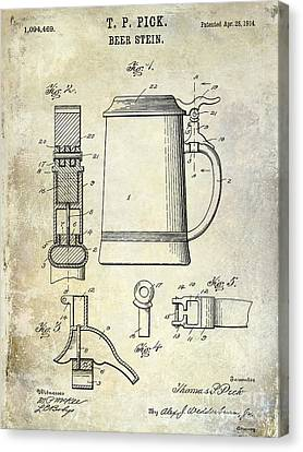 1876 Beer Faucet Patent Drawing Canvas Print by Jon Neidert