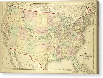 1876 Map Of The United States Color Canvas Print by Toby McGuire