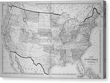 1876 Map Of The United States Canvas Print by Toby McGuire