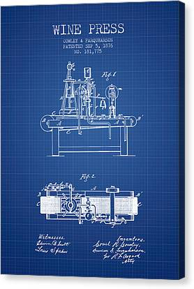 1876 Wine Press Patent - Blueprint Canvas Print by Aged Pixel
