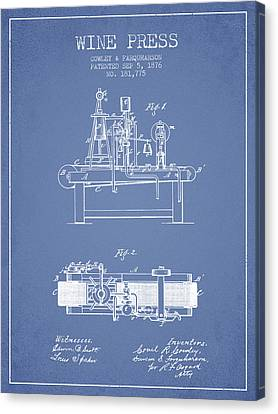 1876 Wine Press Patent - Light Blue Canvas Print by Aged Pixel
