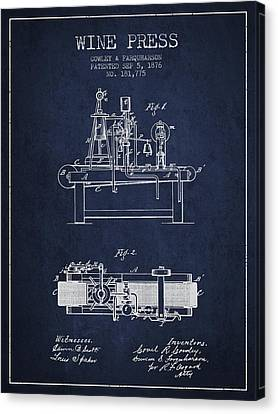 1876 Wine Press Patent - Navy Blue Canvas Print by Aged Pixel