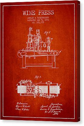 1876 Wine Press Patent - Red Canvas Print by Aged Pixel