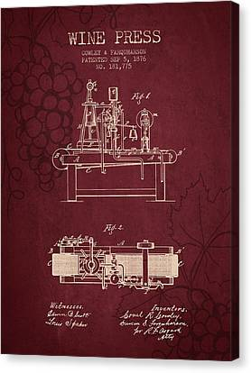 1876 Wine Press Patent - Red Wine Canvas Print by Aged Pixel