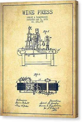 1876 Wine Press Patent - Vintage Canvas Print by Aged Pixel