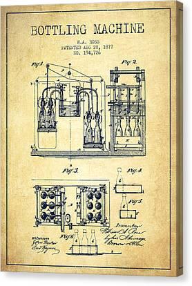 1877 Bottling Machine Patent - Vintage Canvas Print by Aged Pixel