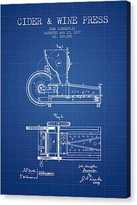 1877 Cider And Wine Press Patent - Blueprint Canvas Print by Aged Pixel