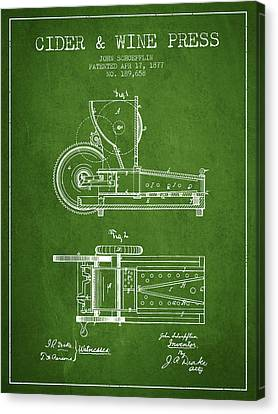 1877 Cider And Wine Press Patent - Green Canvas Print by Aged Pixel