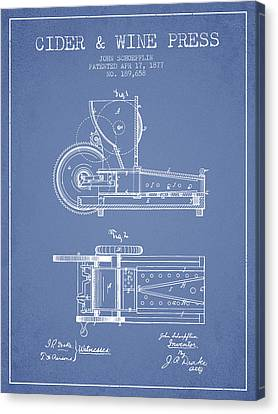1877 Cider And Wine Press Patent - Light Blue Canvas Print by Aged Pixel