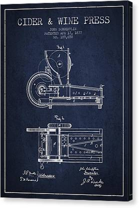 1877 Cider And Wine Press Patent - Navy Blue Canvas Print by Aged Pixel