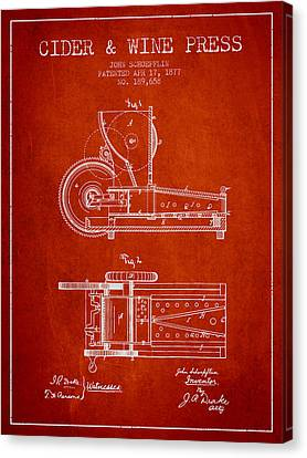 1877 Cider And Wine Press Patent - Red Canvas Print by Aged Pixel