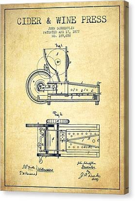 1877 Cider And Wine Press Patent - Vintage Canvas Print by Aged Pixel