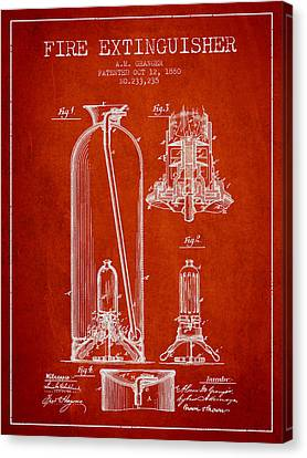 1880 Fire Extinguisher Patent - Red Canvas Print by Aged Pixel