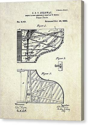 1880 Steinway Piano Forte Patent Art Sheet 1  Canvas Print by Gary Bodnar