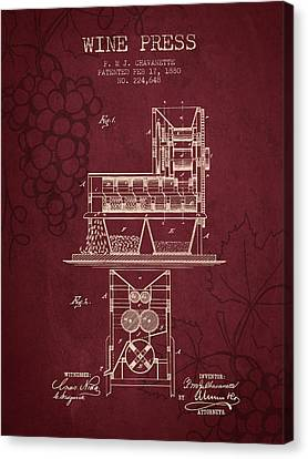 1880 Wine Press Patent - Red Wine Canvas Print by Aged Pixel