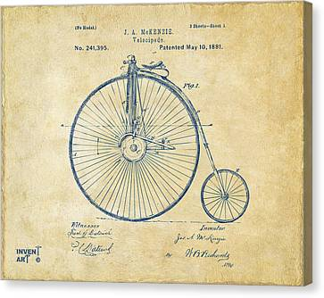 1881 Velocipede Bicycle Patent Artwork - Vintage Canvas Print by Nikki Marie Smith