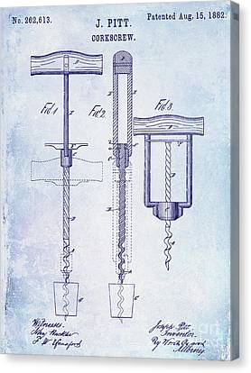 1882 Corkscrew Patent Canvas Print by Jon Neidert