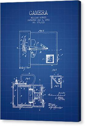 1883 Camera Patent - Blueprint Canvas Print by Aged Pixel