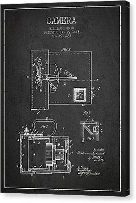1883 Camera Patent - Charcoal Canvas Print by Aged Pixel
