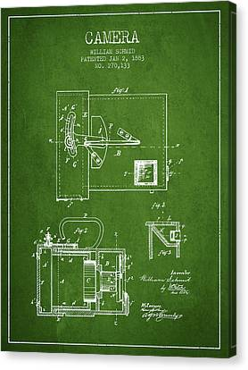 1883 Camera Patent - Green Canvas Print by Aged Pixel