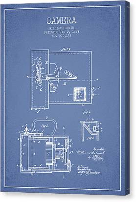 1883 Camera Patent - Light Blue Canvas Print by Aged Pixel