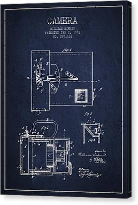 1883 Camera Patent - Navy Blue Canvas Print by Aged Pixel