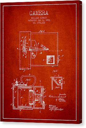 1883 Camera Patent - Red Canvas Print by Aged Pixel
