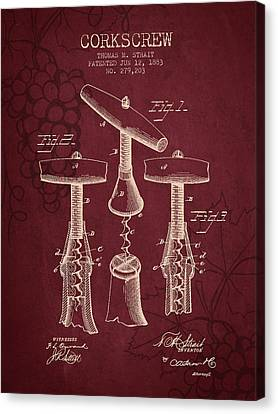 1883 Corkscrew Patent - Red Wine Canvas Print by Aged Pixel