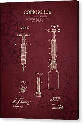 1884 Corkscrew Patent - Red Wine Canvas Print by Aged Pixel