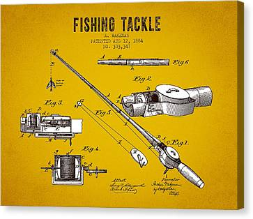 1884 Fishing Tackle Patent - Yellow Brown Canvas Print by Aged Pixel