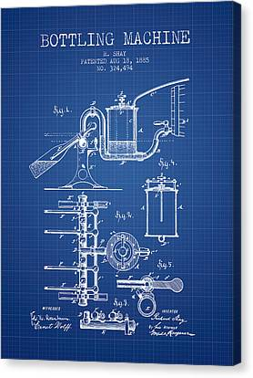 1885 Bottling Machine Patent - Blueprint Canvas Print by Aged Pixel