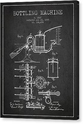 1885 Bottling Machine Patent - Charcoal Canvas Print by Aged Pixel