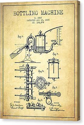 1885 Bottling Machine Patent - Vintage Canvas Print by Aged Pixel