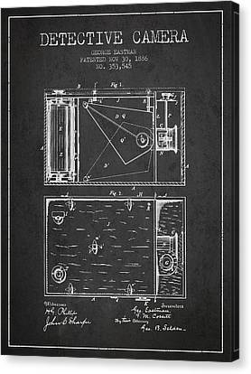 1886 Detective Camera Patent - Charcoal Canvas Print by Aged Pixel