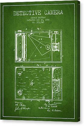 1886 Detective Camera Patent - Green Canvas Print by Aged Pixel