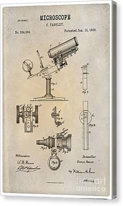 1886 Microscope Patent Art Fasoldt 1 Canvas Print by Nishanth Gopinathan