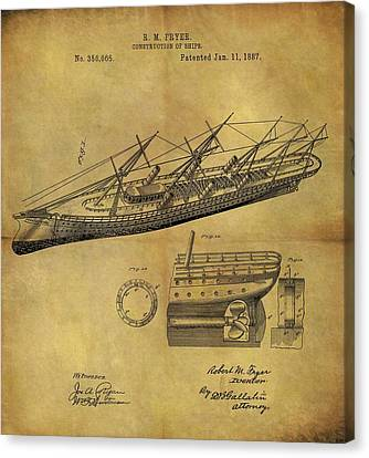 1887 Ship Patent Canvas Print by Dan Sproul
