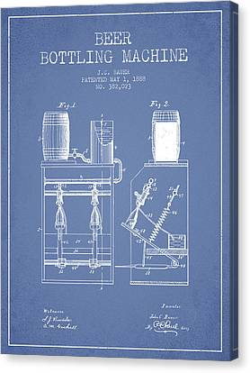 1888 Beer Bottling Machine Patent - Light Blue Canvas Print by Aged Pixel
