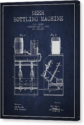 1888 Beer Bottling Machine Patent - Navy Blue Canvas Print by Aged Pixel